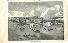 Stampa antica KRONSTADT panorama Russia 1889 Antique print античный печать