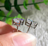 4Ct Princess Cut Diamond Push Back Solitaire Stud Earrings 14K White Gold Finish