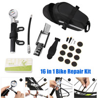 16 in 1 Bike Tire Repair Tool Kit w/Mini Gauge Hand Pump 10PCS Pre-rubber Tires