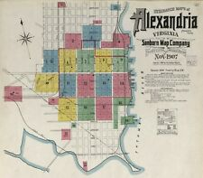 Alexandria, Virginia~Sanborn Map©  with 42 maps made 1885-1907 in color on CD
