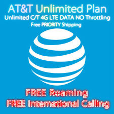 New AT&T Unlimited DATA Plus! Talk&Text 4G LTE Plan FREE Roaming No Throttling