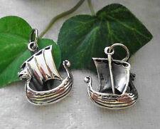 Drachenschiff Wikinger Schiff Boot 925er Silber Anhänger Amulett