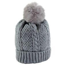 Cappello Neonato Invernale con Pon Pon 0 -12 mesi berretto inverno Grigio Trecce