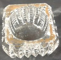 Salt Dip Crystal Clear Glass Square Shape Open Salt Cellar Gold Trim Cut Design
