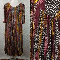 Patio Dress Loose Hippie Boho size Large Muumuu midi Kaftan animal print owl