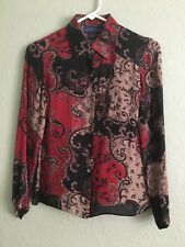 Charter Club 100% Silk Paisley Button Down Shirt Blouse Size 2 P