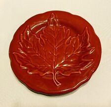 Longaberger Pottery Red Paprika 7 Inch Leaf Plate Lovely!
