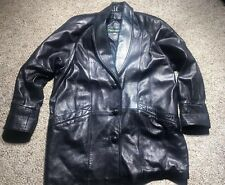 MENS LEATHER CANADIAN JACKET PHIL LEATHER MADE IN CANADA BLACK SZ LARGE CAR COAT