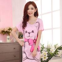 Women Sleep Dress Short Sleeve Cartoon Print Causal Sleepwear Girls Nightgown S