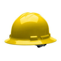 Full Brim Yellow Hard Hat With 4 point Ratchet Suspension USA Made ANSI/ISEA
