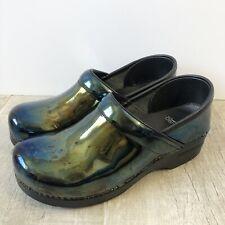 Dansko Professional Patent Iridescent Green Oil Slick Clogs Shoes Size 40