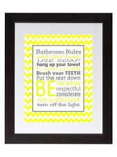 Gray Yellow chevron Bathroom Rules Wall Art Print poster Family Rules