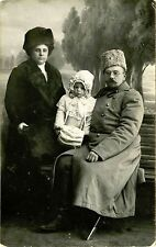 IMPERIAL RUSSIA & SOLDIER AND HIS FAMILY & ca 1910s REAL PHOTO POSTCARD