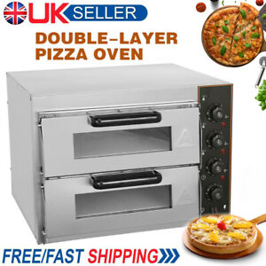 Commercial Electric Double Layers Deck Pizza Oven Fire Stone Stainless Steel 3KW
