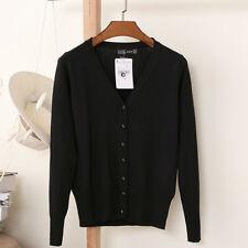 Herz Hiz Women V-Neck Cardigan Button Down Long Sleeve Soft Knit Sweater Ladies