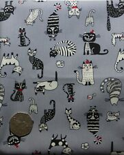 fat quarter of cotton poplin with fun cats in black, white, red on grey