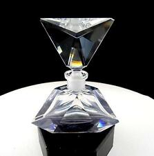 """IMPERLUX GERMANY LEAD CRYSTAL TRIANGLE FACETED 5"""" PERFUME BOTTLE WITH STOPPER"""