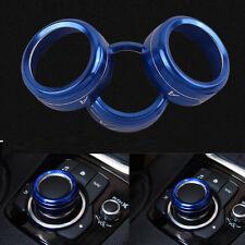 Blue AC Button Ring Cover+Gear Shift Panel Button Trim For Mazda 3 Axela 2014-17
