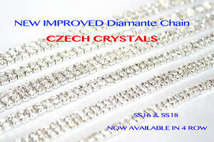 1 Metre Diamante/Rhinestone Chain Silver Wedding Clothes Cake Arts & Crafts UK