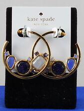 Kate Spade Gold Blue Multi SYMPHONY SPARKLE Set Stone Hoop Earrings WBRUC732 $98