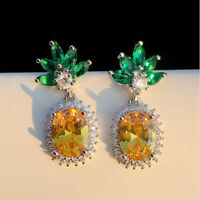 925 Sliver Citrine Emerald Pineapple Fruit Drop Stud Earring Women Party Jewelry