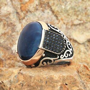 Solid 925 Sterling Silver Blue Tiger's Eye Micro Black Zircon Stone Men's Ring