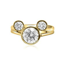 14K Yellow Gold Cubic Zirconia Mickey Mouse Ring