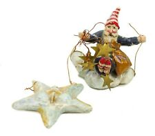 P. Schifferl Composite Red White Blue Gold Santa Star Christmas Ornament