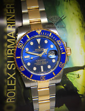 ** Rolex Submariner Date 18k Yellow Gold/Steel Blue Ceramic Mens Watch 116613 **