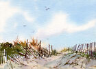 Summer Beach Sand Dunes - PRINT or GREETING CARD - Watercolor by LINDA HENRY