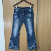 Grace in LA Stitch Embroidered Bootcut Stretch Jeans Womens Size 30 Blue