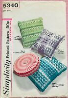 Retro Mid Century Pillow Sewing Pattern Simplicity 5340 Throw Accent Round