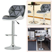 Kitchen Breakfast Black Bar Stools Swivel Chair Adjustable Height Faux Leather