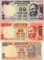 INDIA SET 3 PCS 10 20 50 RUPEES 2014 - 2015 P 102 103 104 NEW UNC
