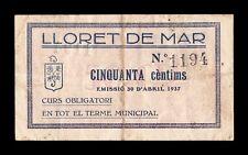 B-D-M  España billete local Lloret de Mar Girona 50 Céntimos 1937 MBC VF