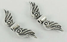 25 Tibetan Zinc Alloy Angel Wings Silver Loose Beads Craft Jewelry Spacer 6x23mm