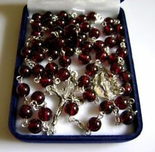 Sterling 925 Silver Rare Garnet Gemstone Beads CATHOLIC ROSARY NECKLACE CROSS