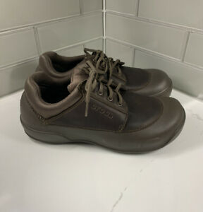 RARE Crocs Velocity Brown Leather Lace Up Shoes Men's 13 Slip Resistant Comfort