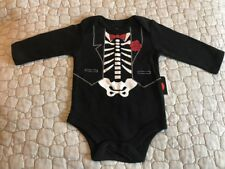 Halloween One Piece Body Suit Black Suit Red Bow Tie Flower Size 18 Months NWT