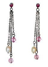 Elegantes señoras Gun Metal Gris / Rosa Piedra color de contraste pendientes (Zx10)