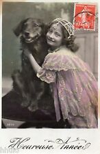 BL140 Carte Photo vintage card RPPC Enfant fantaisie chien dog mode fashion