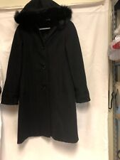 Black 100% Wool Fox Fur Trim Coat
