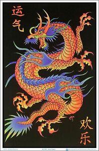 Asian Dragon Blacklight Poster 23 x 35