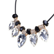 Women Heart & Clear Stone Pear-Shaped Crystal Necklace Pendant Chunky Statement