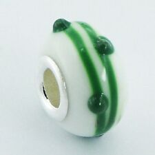 Murano Glass Bead Green 15mm high sterling silver core for charm bracelet