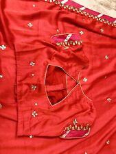 New Pure Soft Silk Gota Patti Saree Wedding Party Blouse Not BenarasiKatan Pattu