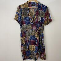 Vintage 90s Womens Skort Romper Dress M Rayon Shorts Boho Artsy Print Festival