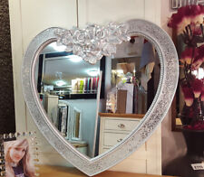 Heart Crackle Wall Mirror Ornate Moroccan French Engraved Rose Glass Silver