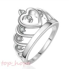 Women's Silver Plated Hollow Rhinestone Princess Heart Crown Tiara Band Ring NEW