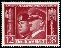 LG RARE ORIG WW2 NAZI AXIS SUMMIT STAMP w HITLER & MUSSOLINI! FLAWLESS MNH COND!